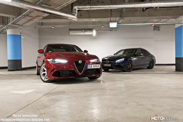 Italian vs German – Giulia Q: 2.9 V6 Twin-Turbo  510 KM 600 Nm 0-100 km/h: 3.9 s Vmax: 307 km/h  Merceds-AMG C63 S Edition 1 4.0 V8 Twin-Turbo  510 KM 700 Nm 0-100 km/h: 4.0 s Vmax: 250/290 km/h
